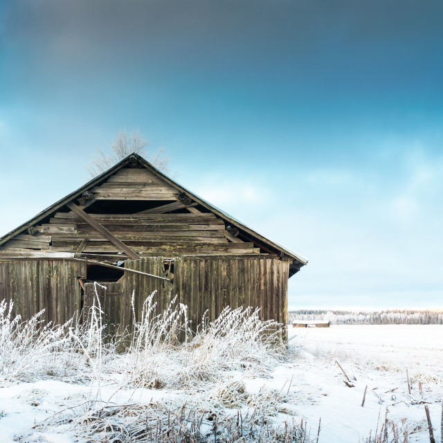"""""""Barn And The Frosty Fields"""" stock image"""