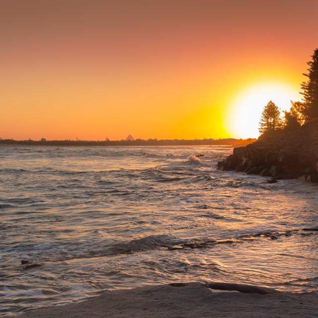 """""""Caloundra Beach Sunset"""" stock image"""