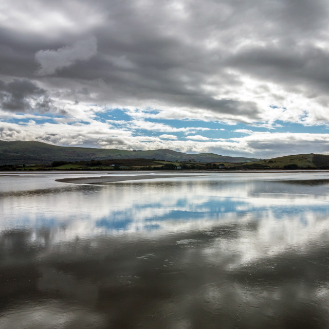 """Traeth Bach Estuary Reflections"" stock image"