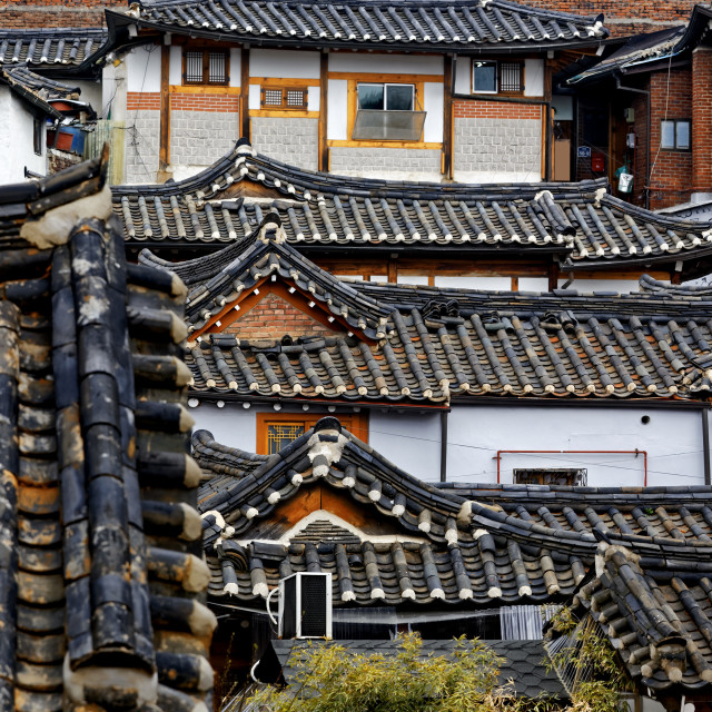 """Korean traditional house building"" stock image"