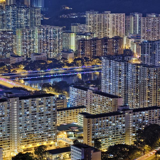 """""""Hong Kong Sha Tin at Night"""" stock image"""