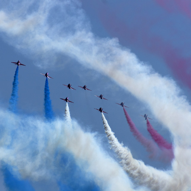 """Red Arrows Through the Smoke"" stock image"