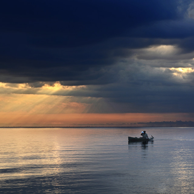 """Fisherman in the morning"" stock image"