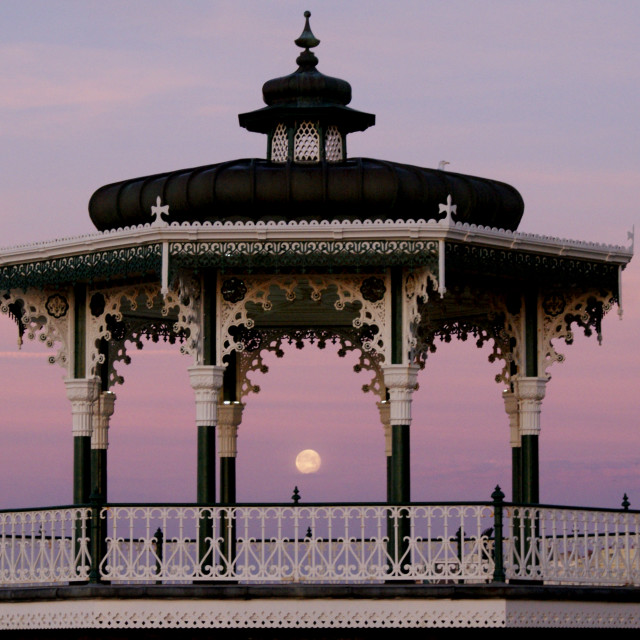 """The moon in the bandstand at sunrise"" stock image"