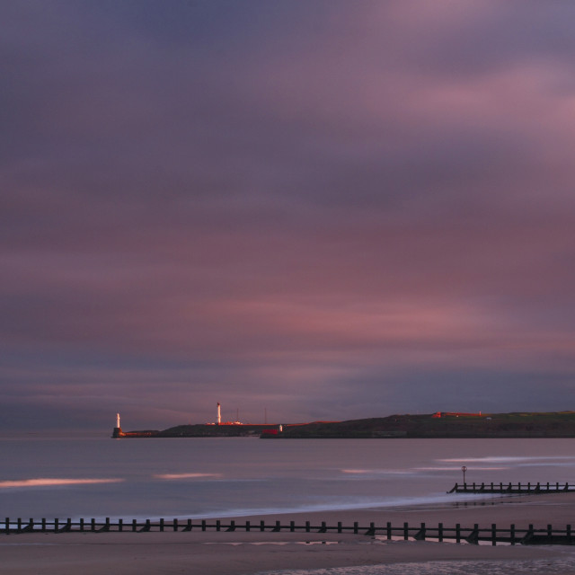 """Girdle Ness from Aberdeen Beach"" stock image"