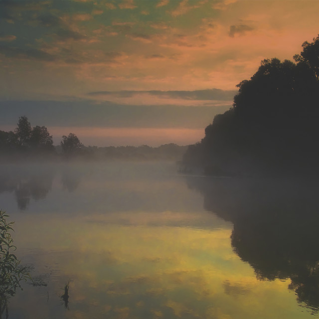 """Vintage photo of beautiful foggy sunrise over the river"" stock image"