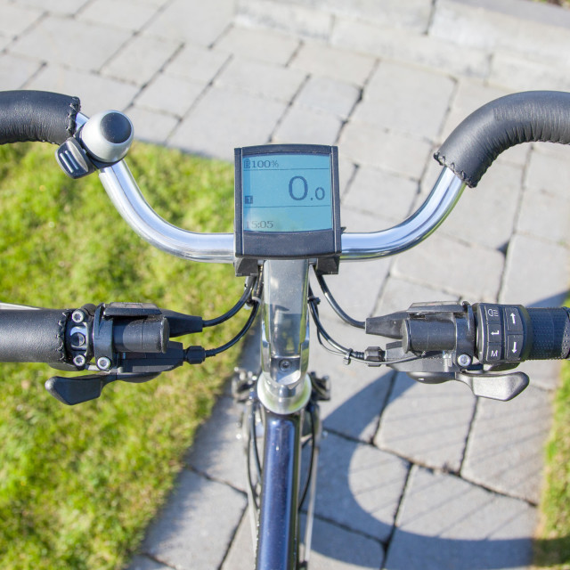 """""""Electric bicycle in the sun"""" stock image"""
