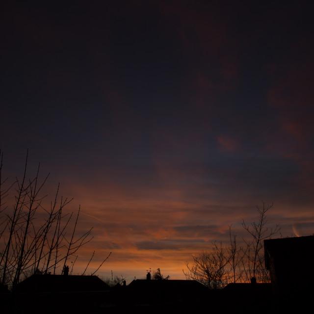 """Orange clouds & sky"" stock image"