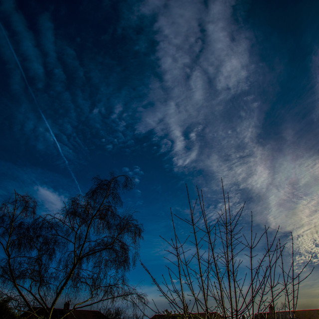 """""""Blue clouds and contrail"""" stock image"""