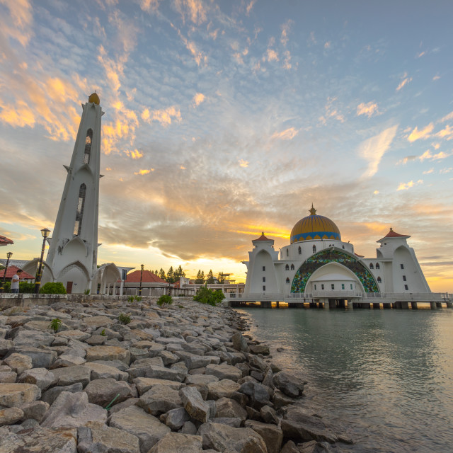"""Malacca Straits Mosque during sunrise."" stock image"