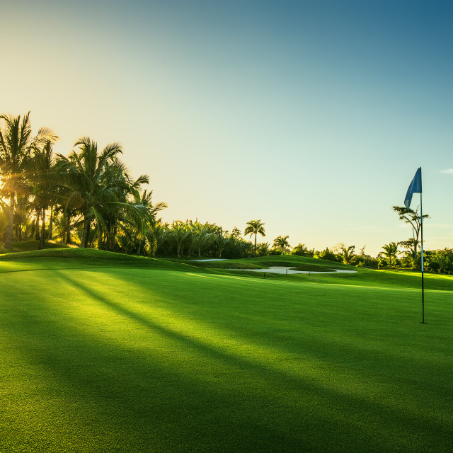 """""""Golf course in the countryside"""" stock image"""