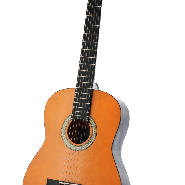 """Classical acoustic guitar isolated on a white background"" stock image"