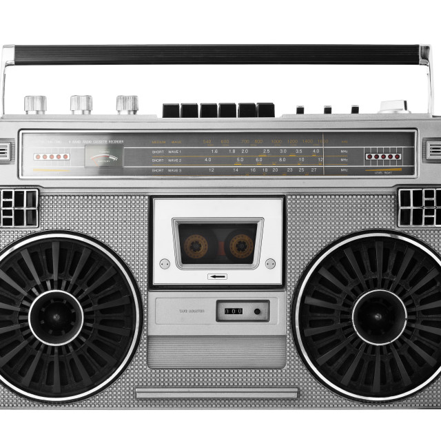 """""""Silver old-school ghetto blaster or boombox with clipping path"""" stock image"""