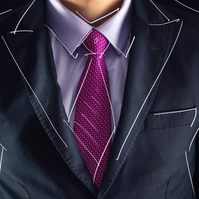 """""""Closeup shot of business man on a suit and drawing sketch"""" stock image"""