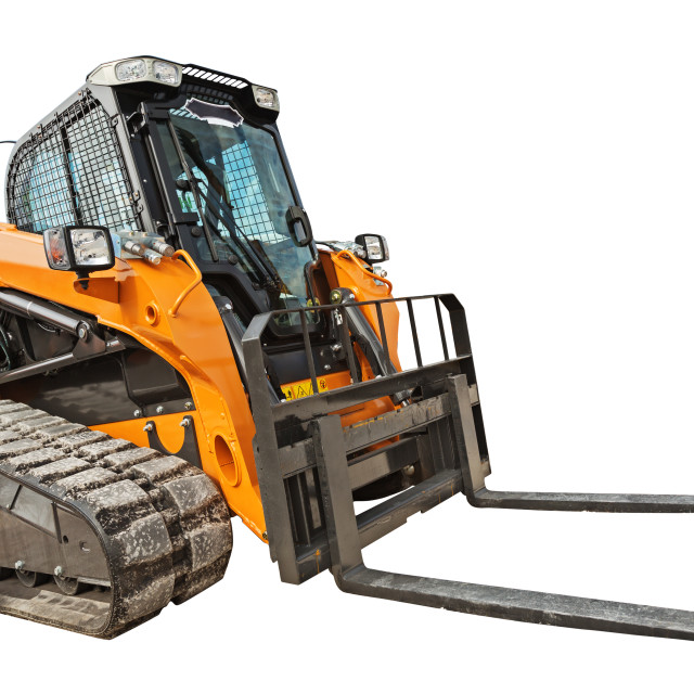 """""""Modern excavator bulldozer with clipping path isolated"""" stock image"""