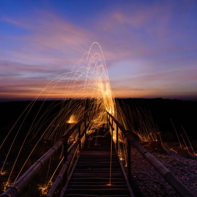 """""""Dawn on bamboo bridge"""" stock image"""