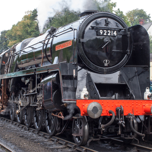 """Steam loco 92214"" stock image"