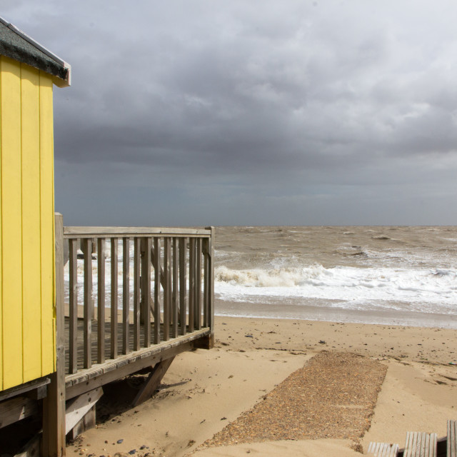 """Beach Hut, Felixstowe"" stock image"