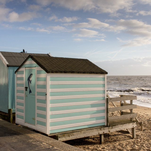 """Beach huts, Felixstowe"" stock image"