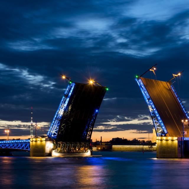 """Opened bridge in Saint-Petersburg at night"" stock image"