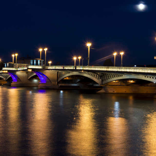 """Bridge in Saint-Petersburg at night"" stock image"