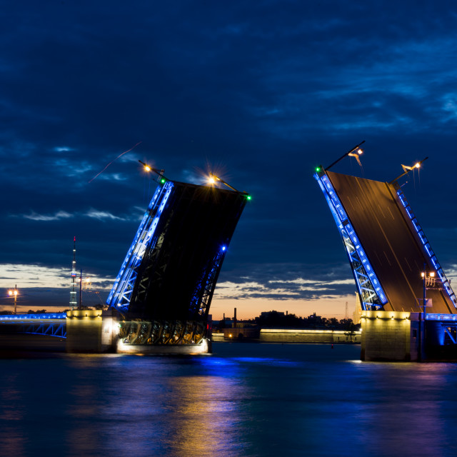 """Opened bridge in Saint-Petersburg at night"" stock image"