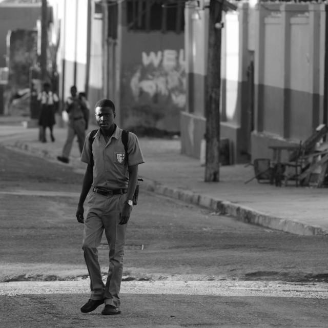"""Off to school - Kingston Jamaica"" stock image"