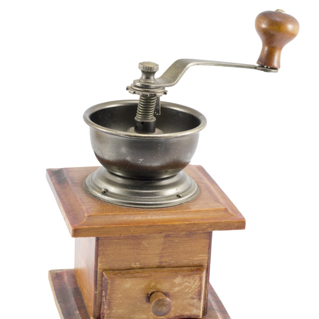 """""""Vintage coffee grinder isolated"""" stock image"""
