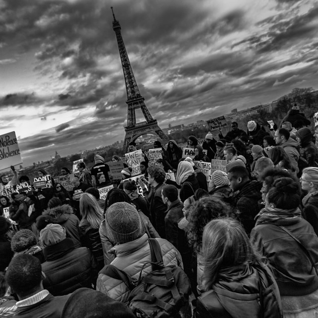 """Ferguson Protest in Paris"" stock image"