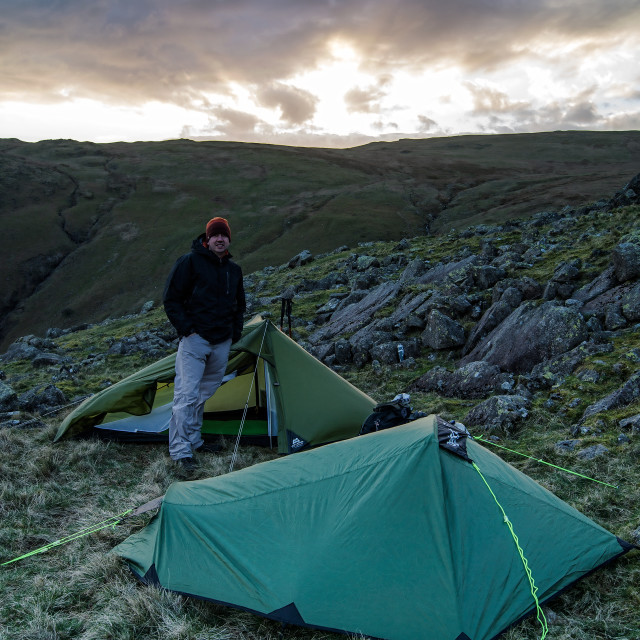 """Wild camping in the fells. Lakeland, Lake District"" stock image"