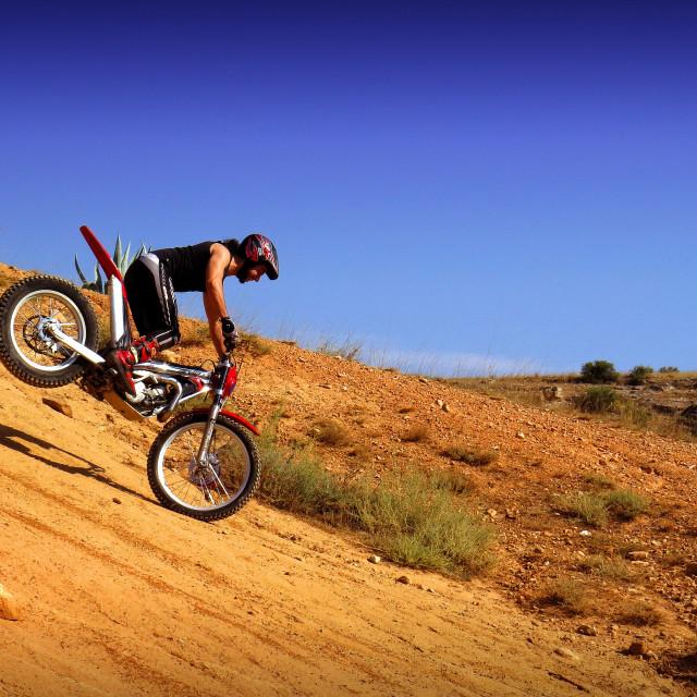 """""""Trial motorcross bike in Zaragoza Spain"""" stock image"""