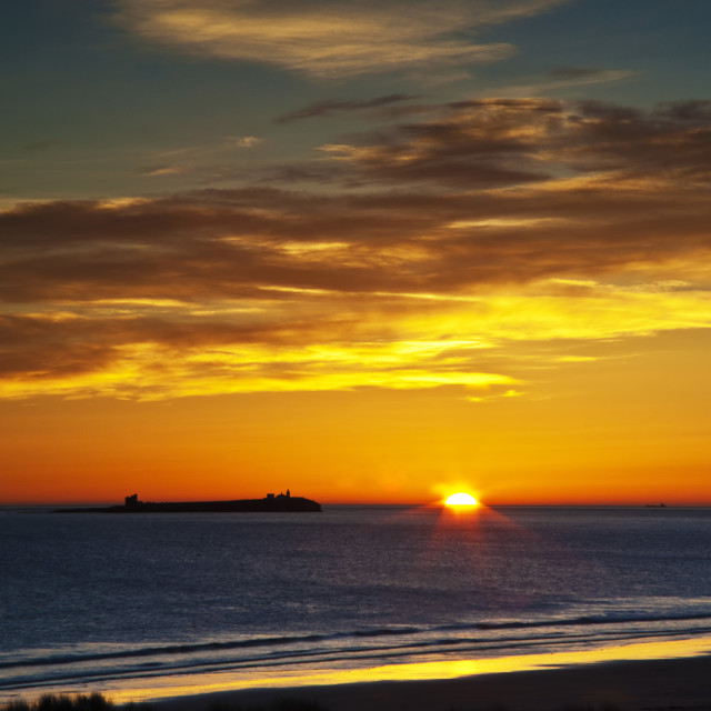 """""""Inner Farne from Bamburgh Beach."""" stock image"""