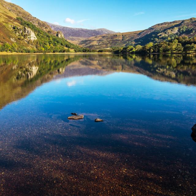 """""""Lake Reflections, North Wales"""" stock image"""