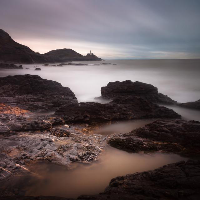 """""""Mumbles lighthouse and Bracelet Bay"""" stock image"""