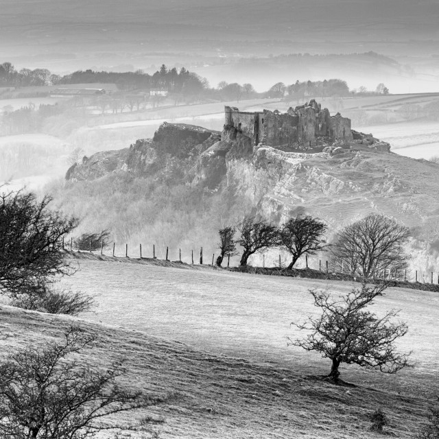 """Winter at Carreg Cennen Castle"" stock image"