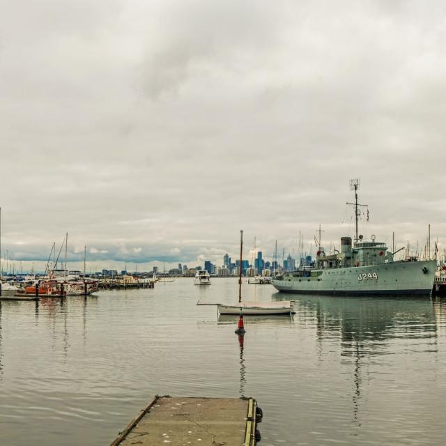 """Panorama of Williamstown waterfront, Melbourne, Victoria, Australia"" stock image"