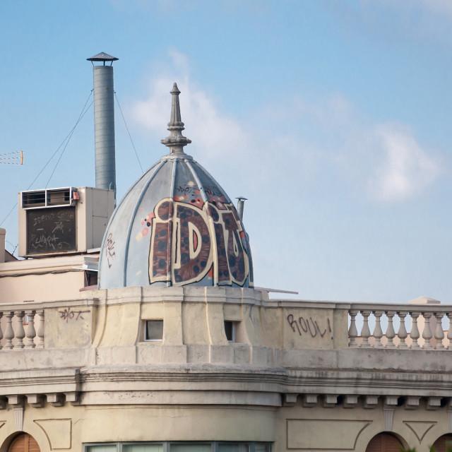"""Graffiti on the roof on La Rambla"" stock image"