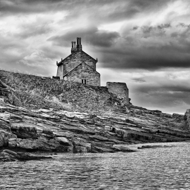 """The Bathing House at Howick. Mono"" stock image"