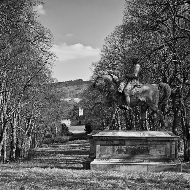 """""""Statue in the grounds of Chillingham Castle."""" stock image"""