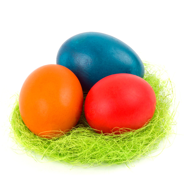 """Easter eggs in the nest"" stock image"