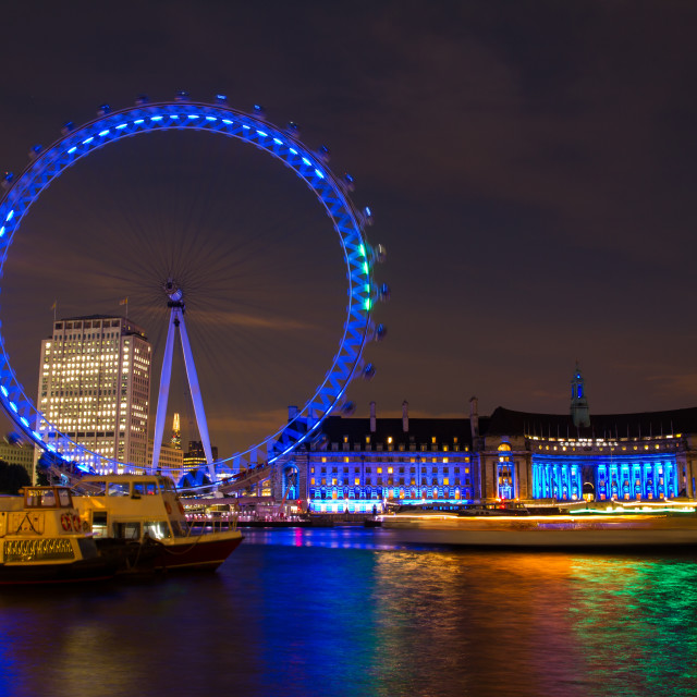 """London Eye by night"" stock image"