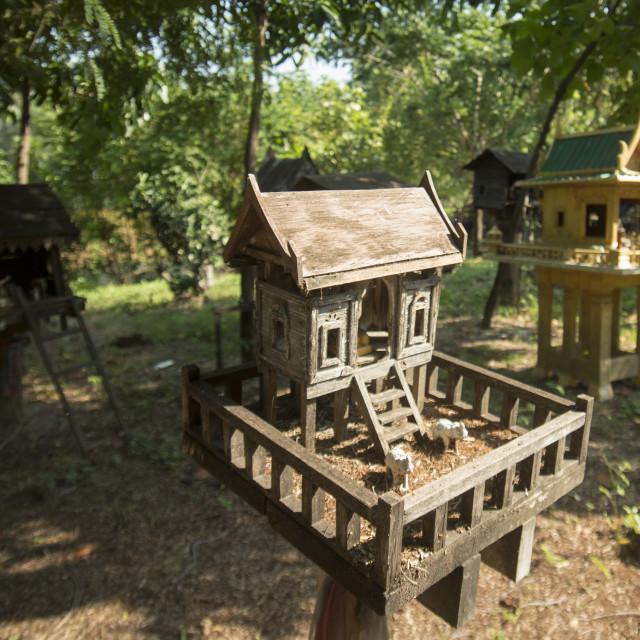 """THAILAND ISAN SPIRIT HOUSES"" stock image"
