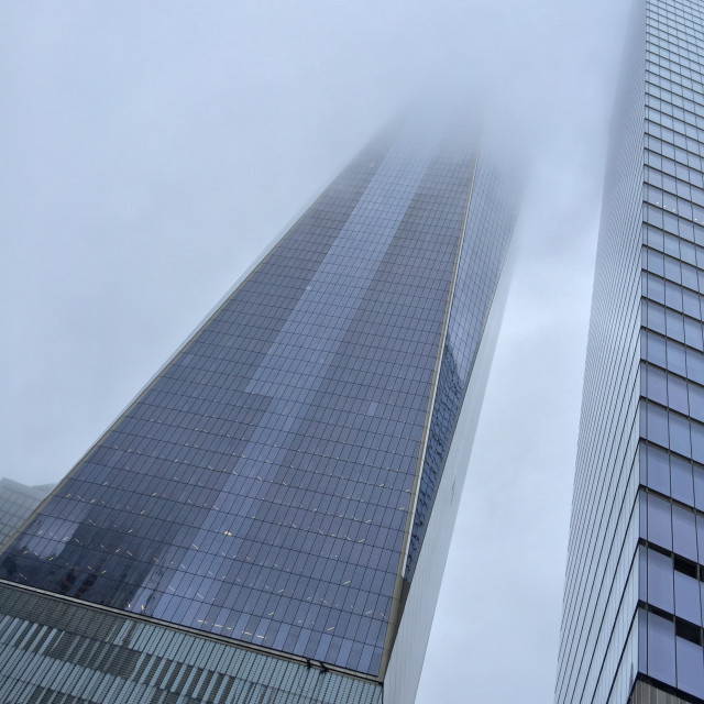 """One World Trade Center in fog"" stock image"