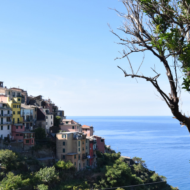 """Corniglia town on hill in Italian Riviera"" stock image"