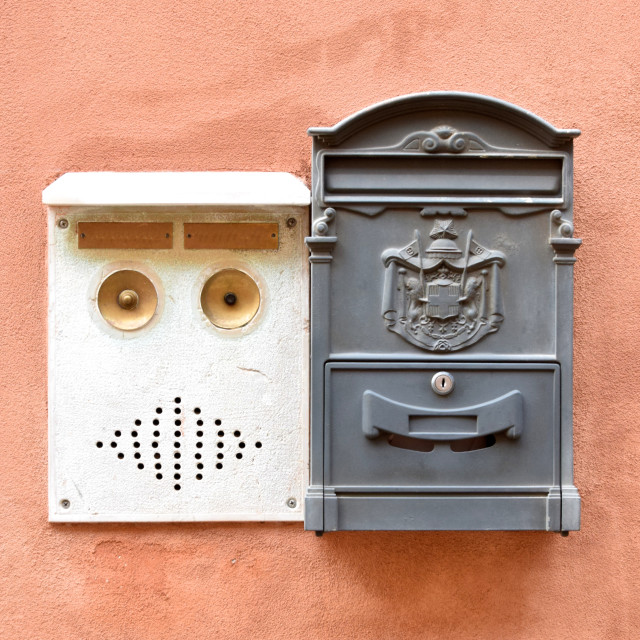 """Italian mail box and door buzzer"" stock image"