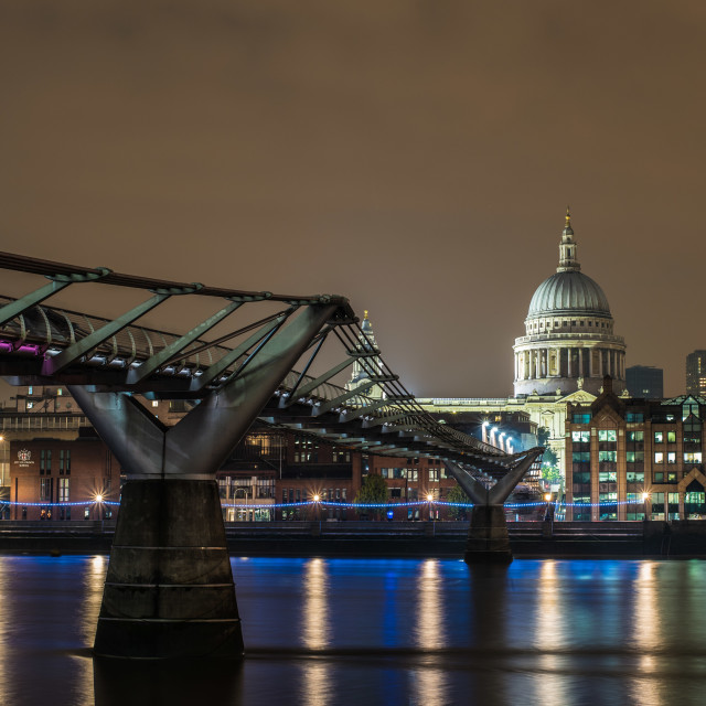 """Millennium Bridge and St. Paul Cathedral"" stock image"