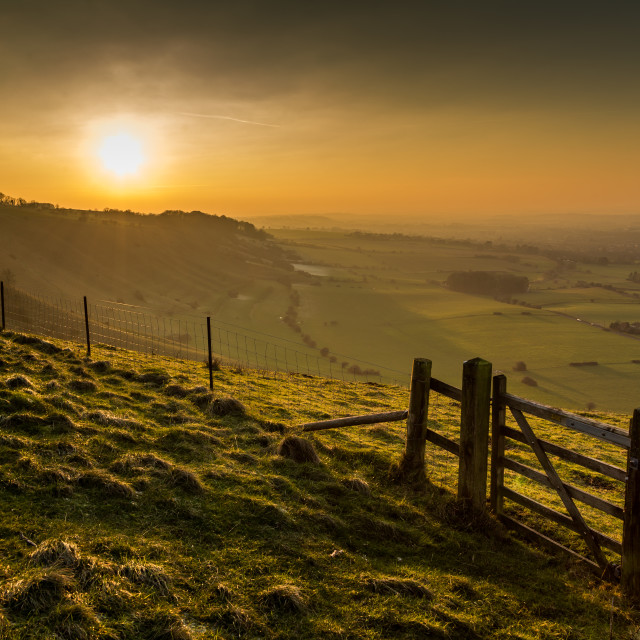 """Sunset over WIltshire"" stock image"