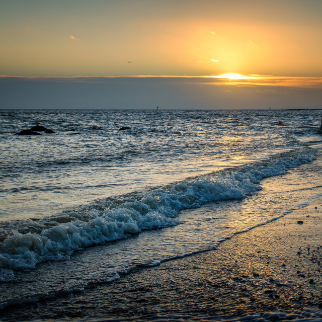 """January Sunset Off Essex Coast"" stock image"