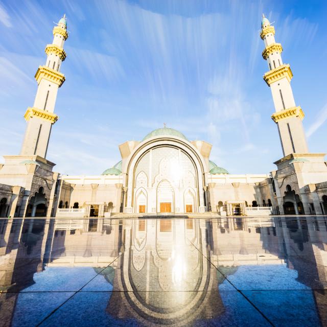 """Long exposure photo of Sunrise at Federal Mosque Kuala Lumpur"" stock image"