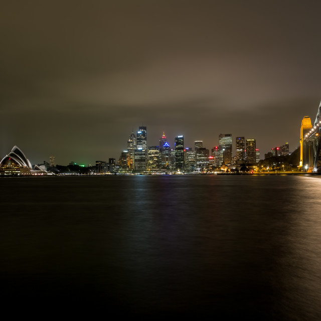 """Sydney Harbour Bridge and Skyline at Night"" stock image"